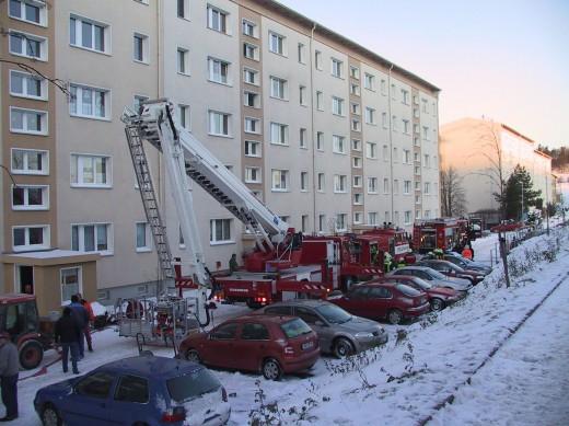 Brand in der Alexander-Puschkin-Str.