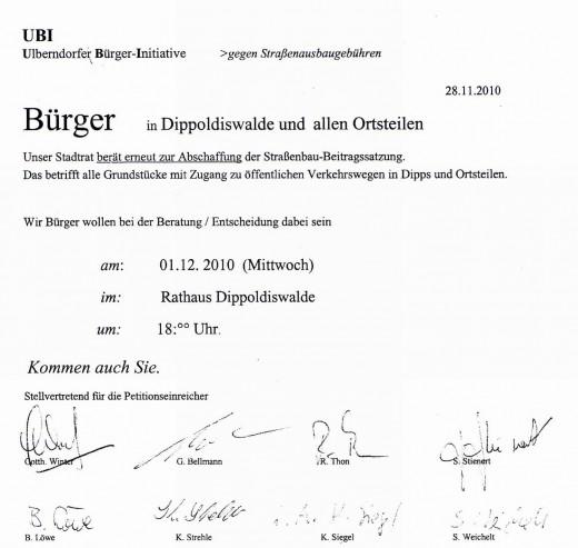 Einladung der UBI zur Stadtratssitzung am 1.12.