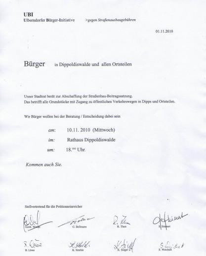 Einladung der UBI für die Stadtratssitzung am 10.11.2010