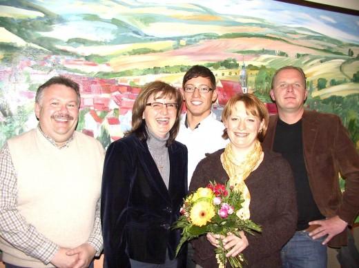 Torsten Teubner (Stellv. Oberbürgermeister), Andrea Dombois (MdL), Emanuel Schmidt (Vorsitzender des CDU-Ortsverbandes), Kerstin Körner (OB-Kandidatin), Karl-Heinz Ukena (Fraktionsvorsitzender)