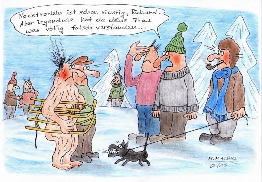 Nacktrodeln völlig falsch verstanden (Karikatur: © Mirko Mitschke, Lizenz: CC by-nc-nd)