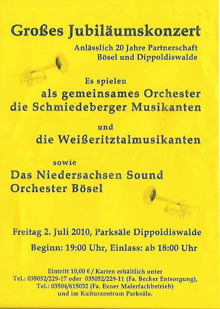 Plakat Jubiläumskonzert am 2. Juli 2010, 19 Uhr