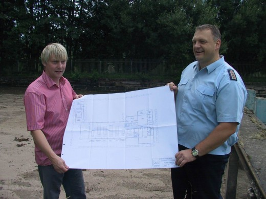Plan des Feuerwehrdepos im ehemaligen Stadtbad