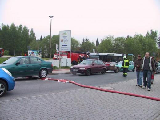 Verkehrsbehinderung während der Löscharbeiten