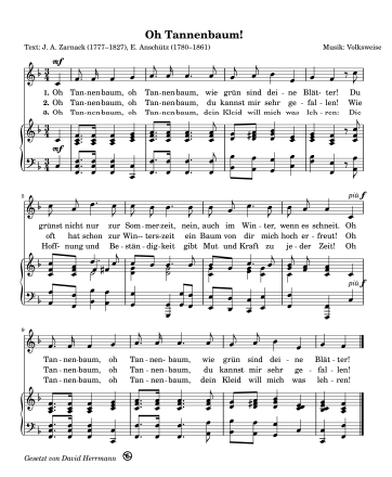 OH Tannenbaum und andere Weihnachtslieder  (TEXT und Noten GEMA-frei!)