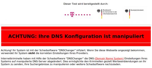 Warnmeldung von dns-ok.de