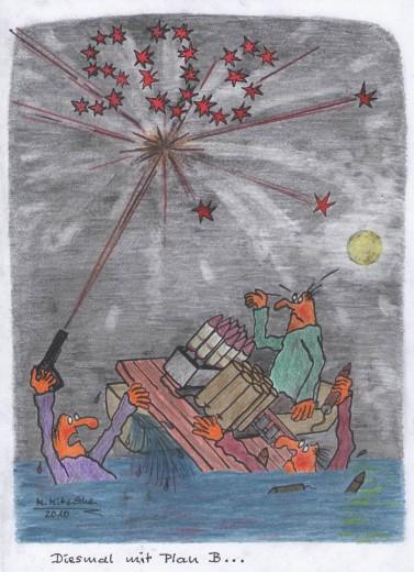 Feuerwerk mit Plan B (Karikatur: Mirko Mitschke © CC by-nc-nd)